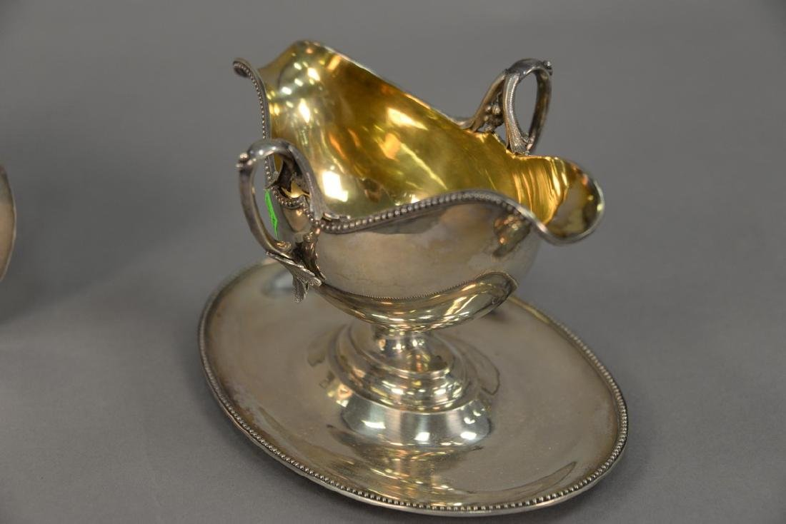 Pair of Lazarus Posen silver gravy boats with gold wash - 5