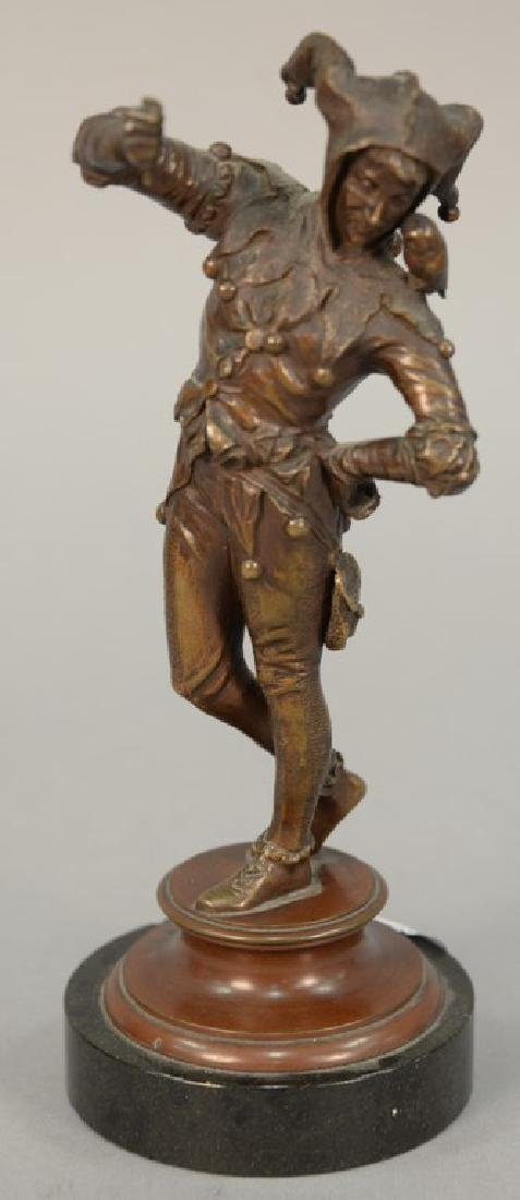 Eugene Barillot bronze figure of a jester on a marble