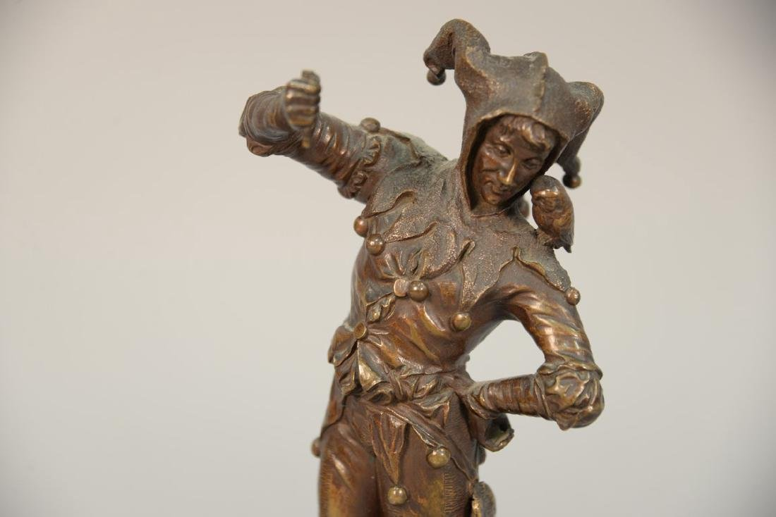 Eugene Barillot bronze figure of a jester on a marble - 2