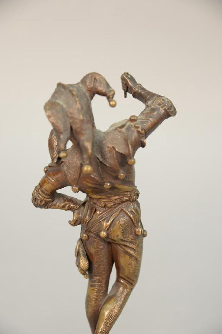 Eugene Barillot bronze figure of a jester on a marble - 3