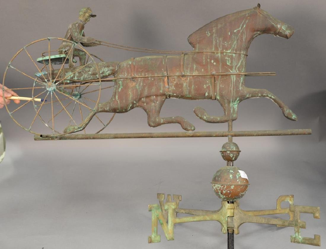 Horse and sulky weathervane, copper with directions,