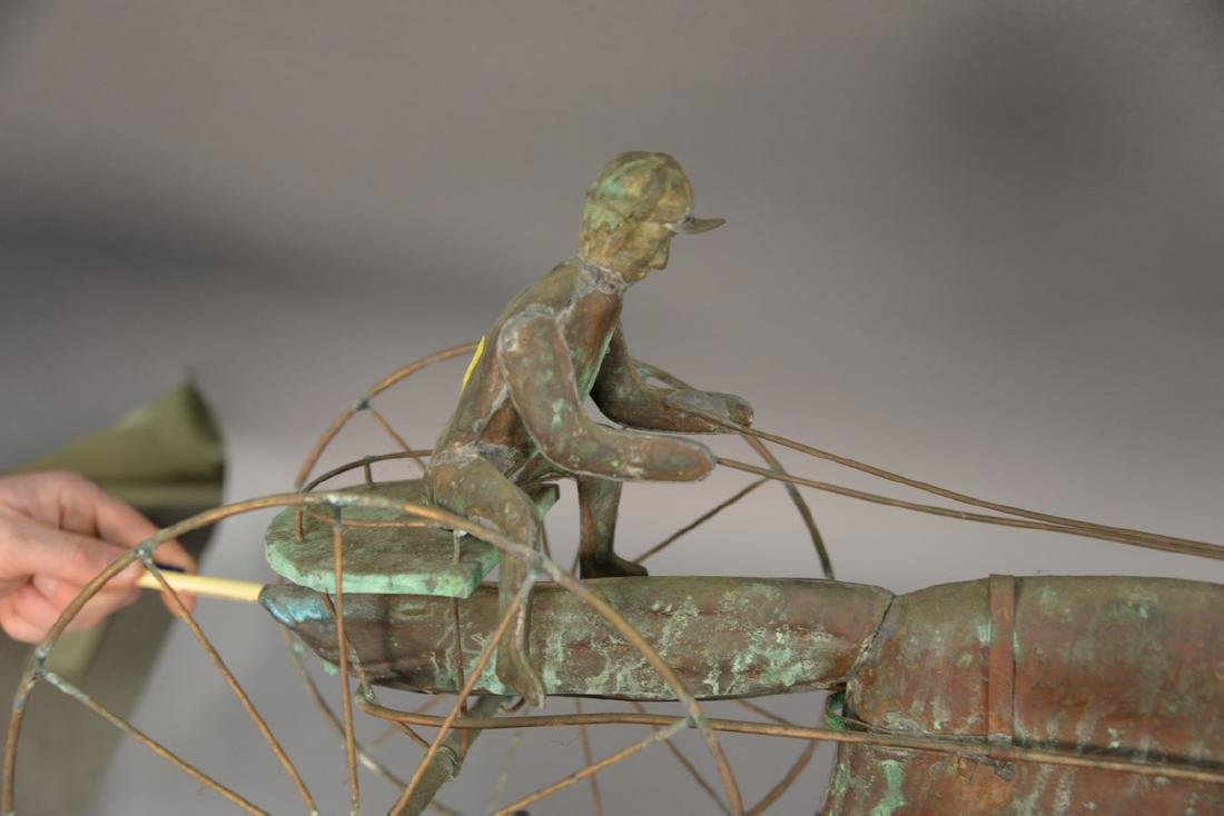 Horse and sulky weathervane, copper with directions, - 2