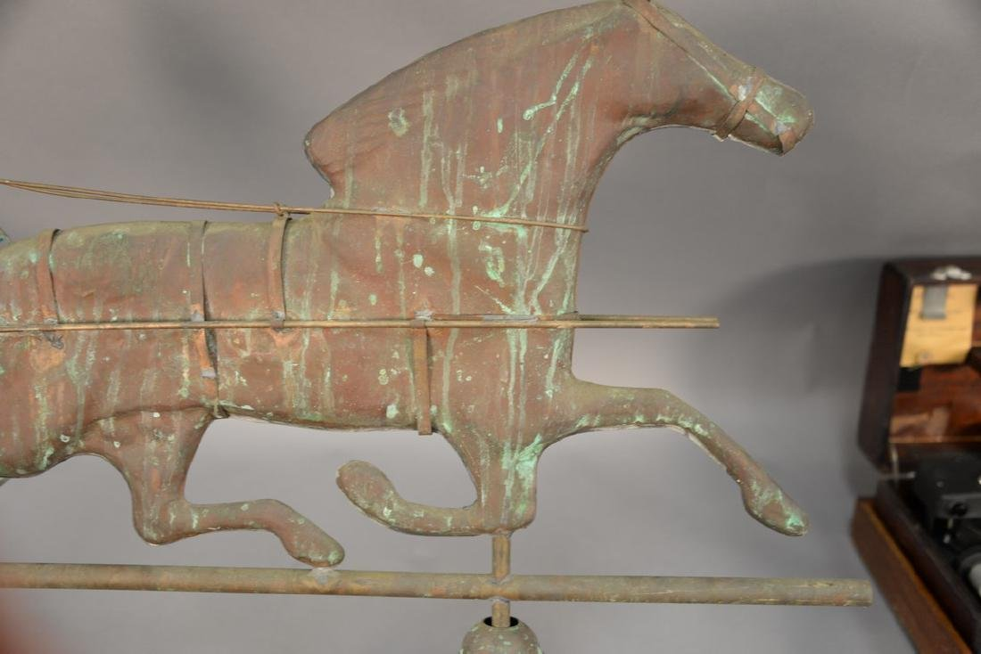 Horse and sulky weathervane, copper with directions, - 3