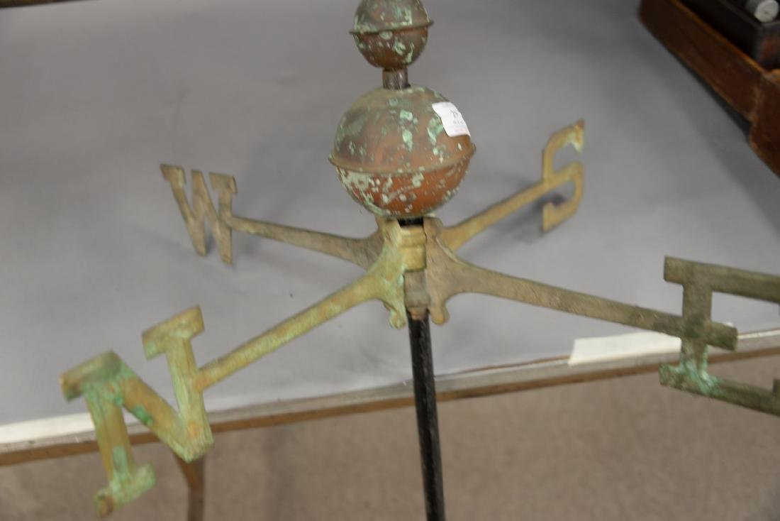 Horse and sulky weathervane, copper with directions, - 4