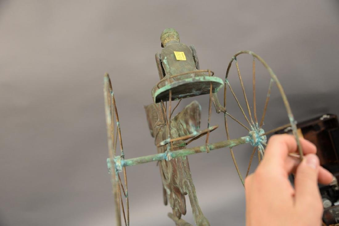Horse and sulky weathervane, copper with directions, - 5