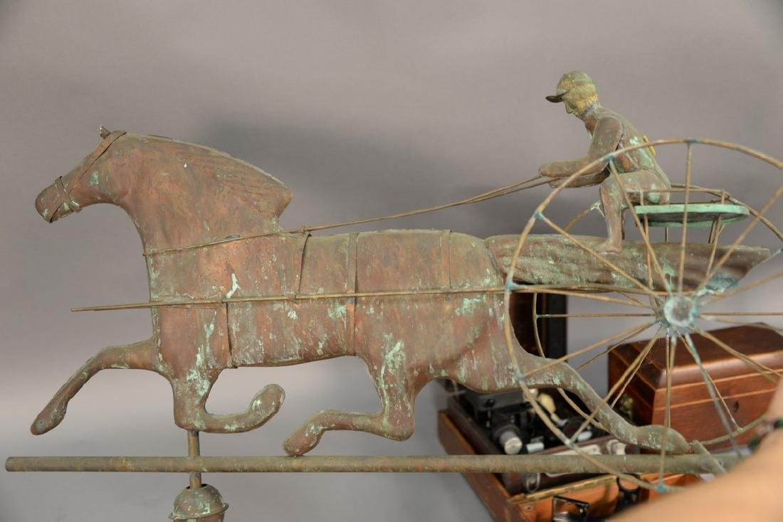 Horse and sulky weathervane, copper with directions, - 6