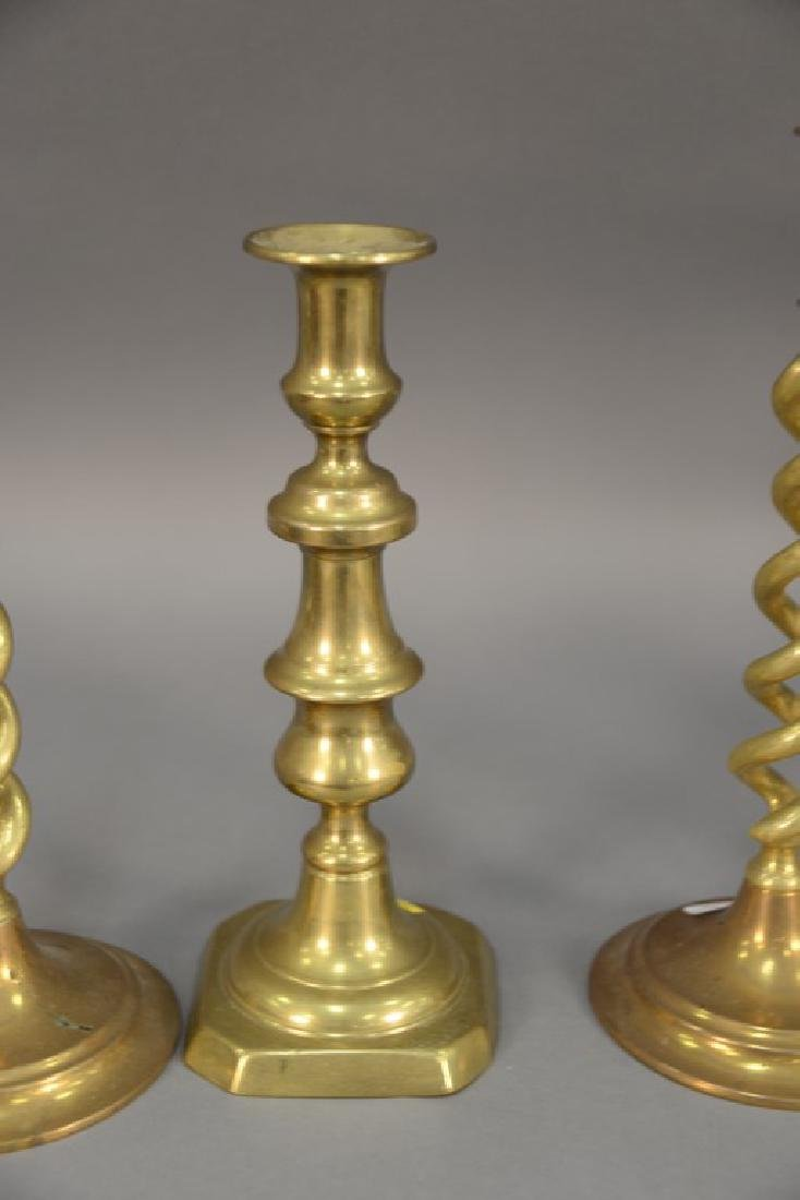 Three pairs of brass candlesticks including two pairs - 2