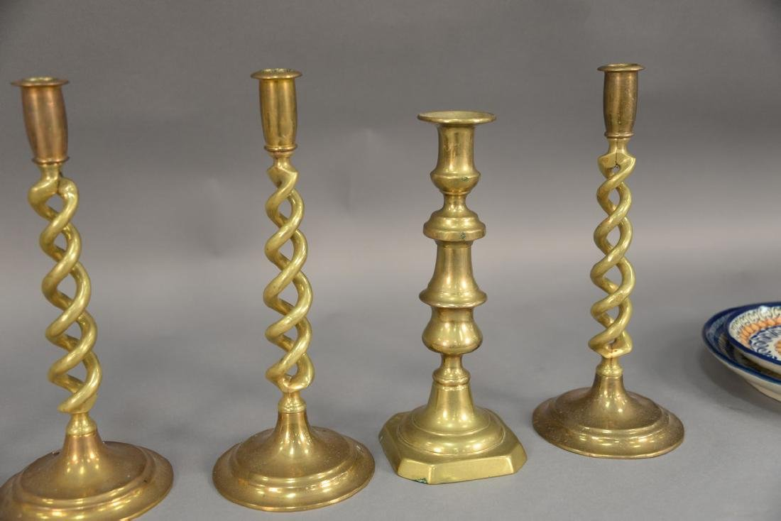 Three pairs of brass candlesticks including two pairs - 4