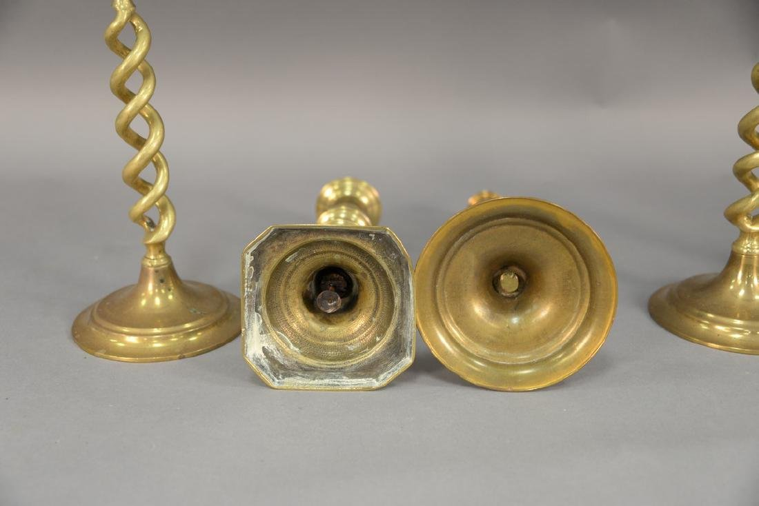 Three pairs of brass candlesticks including two pairs - 5