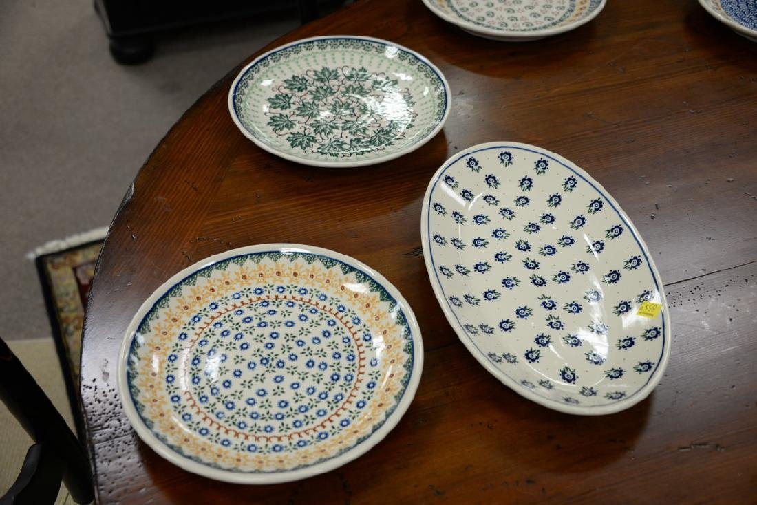 Twelve handmade Polish pottery pieces to include a set - 5