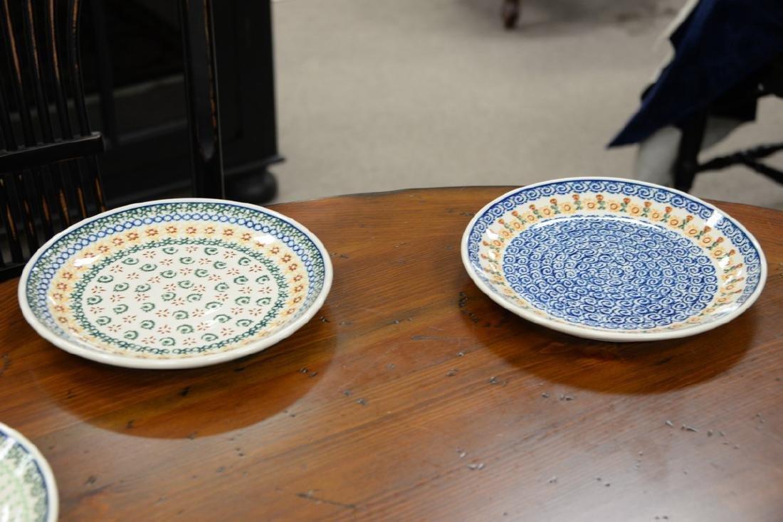 Twelve handmade Polish pottery pieces to include a set - 8