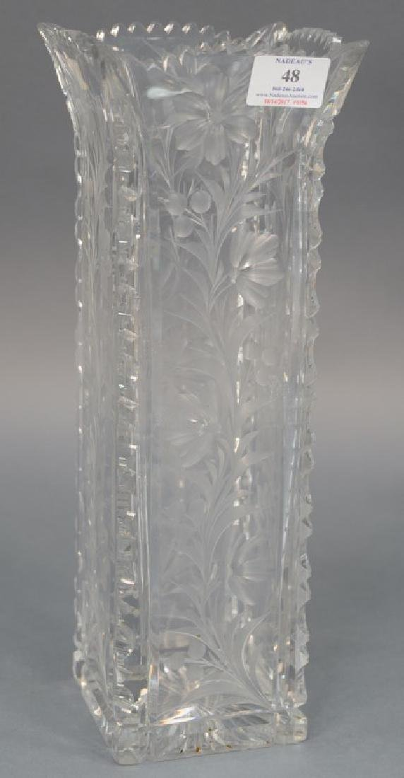 Universal cut glass vase square with ground floral