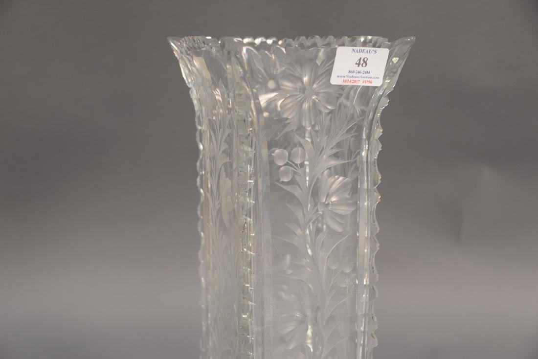 Universal cut glass vase square with ground floral - 2