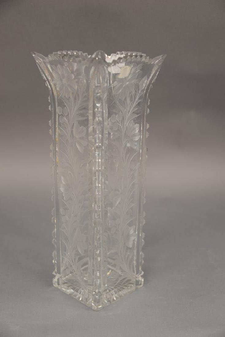 Universal cut glass vase square with ground floral - 3
