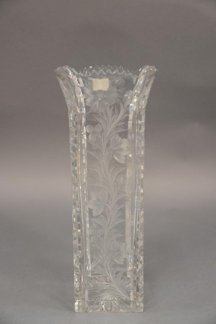 Universal cut glass vase square with ground floral - 4