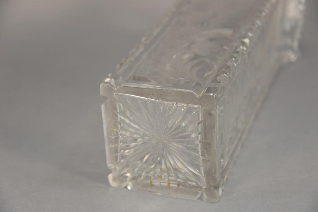 Universal cut glass vase square with ground floral - 6