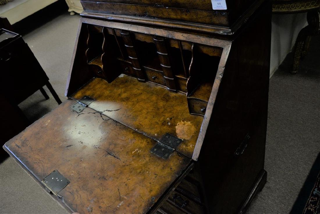 Theodore Alexander burl secretary desk. ht. 88in., wd. - 3