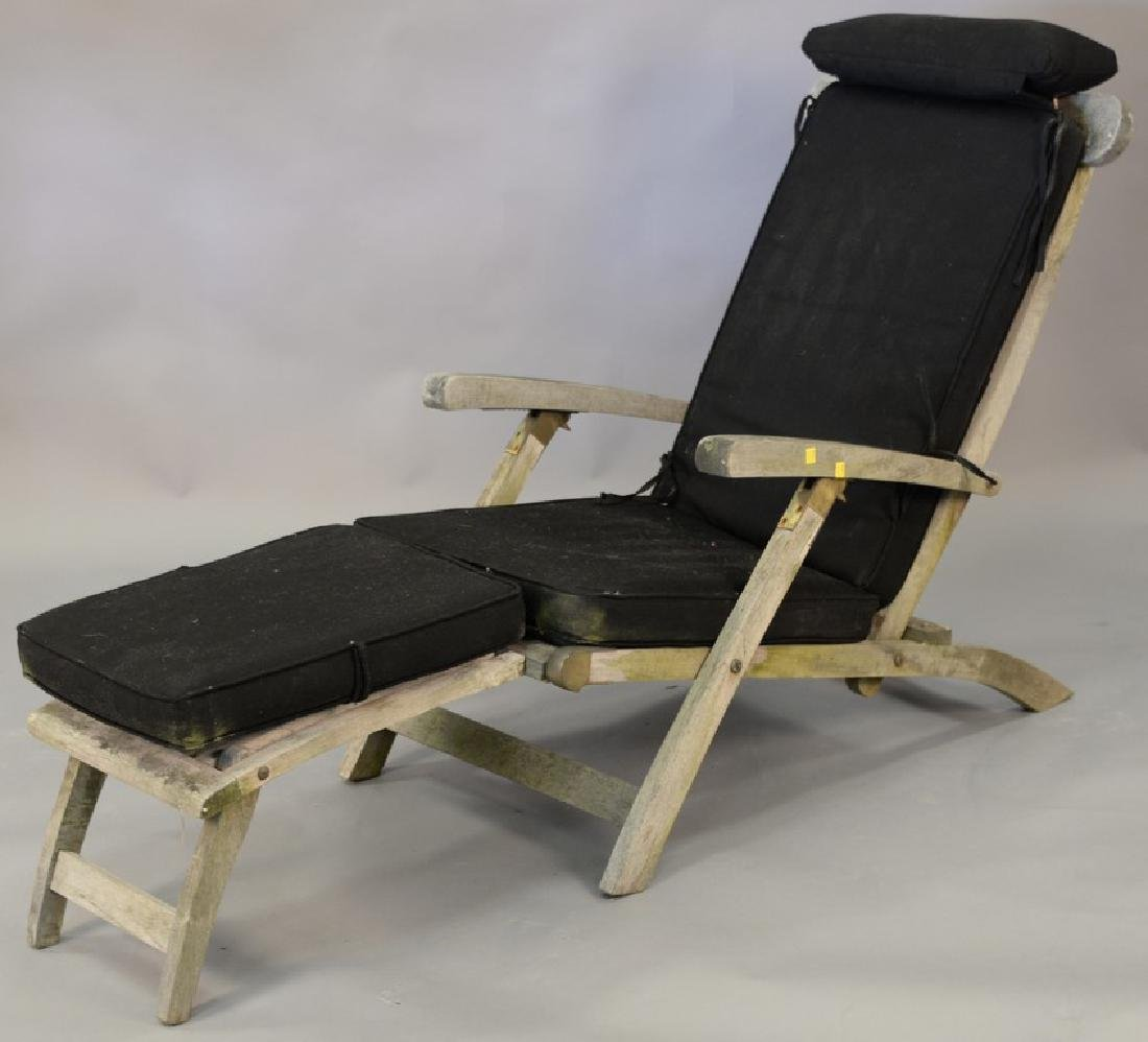 Set of three teak folding lounge chairs with adjustable