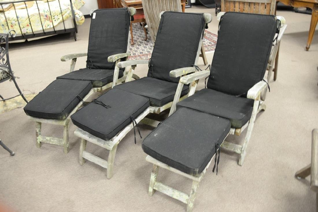 Set of three teak folding lounge chairs with adjustable - 2