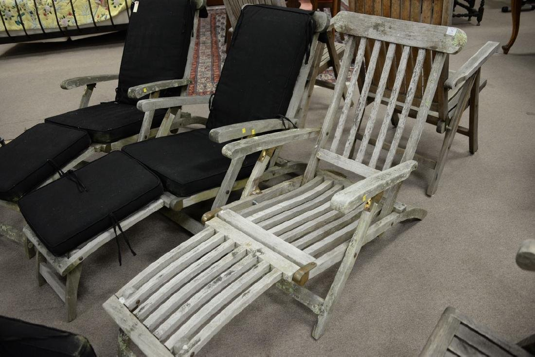 Set of three teak folding lounge chairs with adjustable - 3