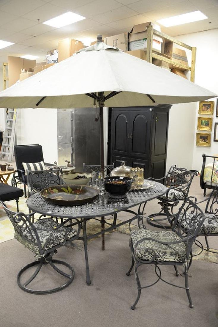 Seven piece metal outdoor set including table and six - 2
