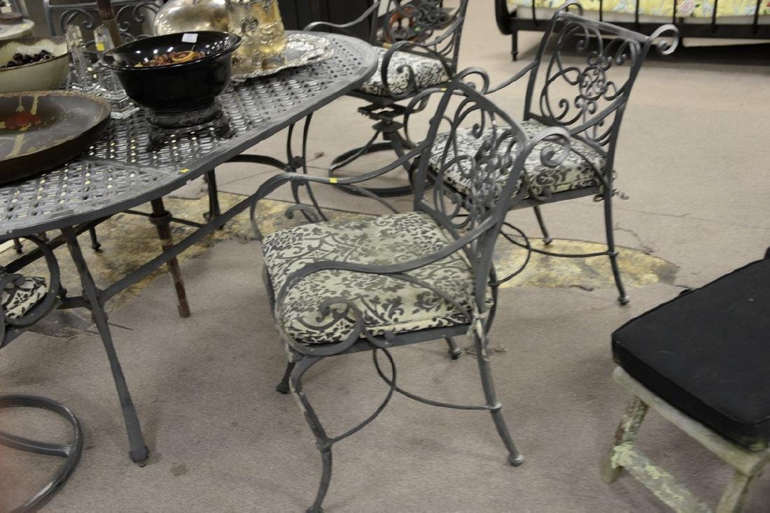 Seven piece metal outdoor set including table and six - 3