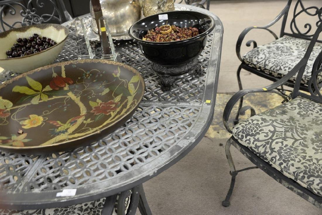 Seven piece metal outdoor set including table and six - 5