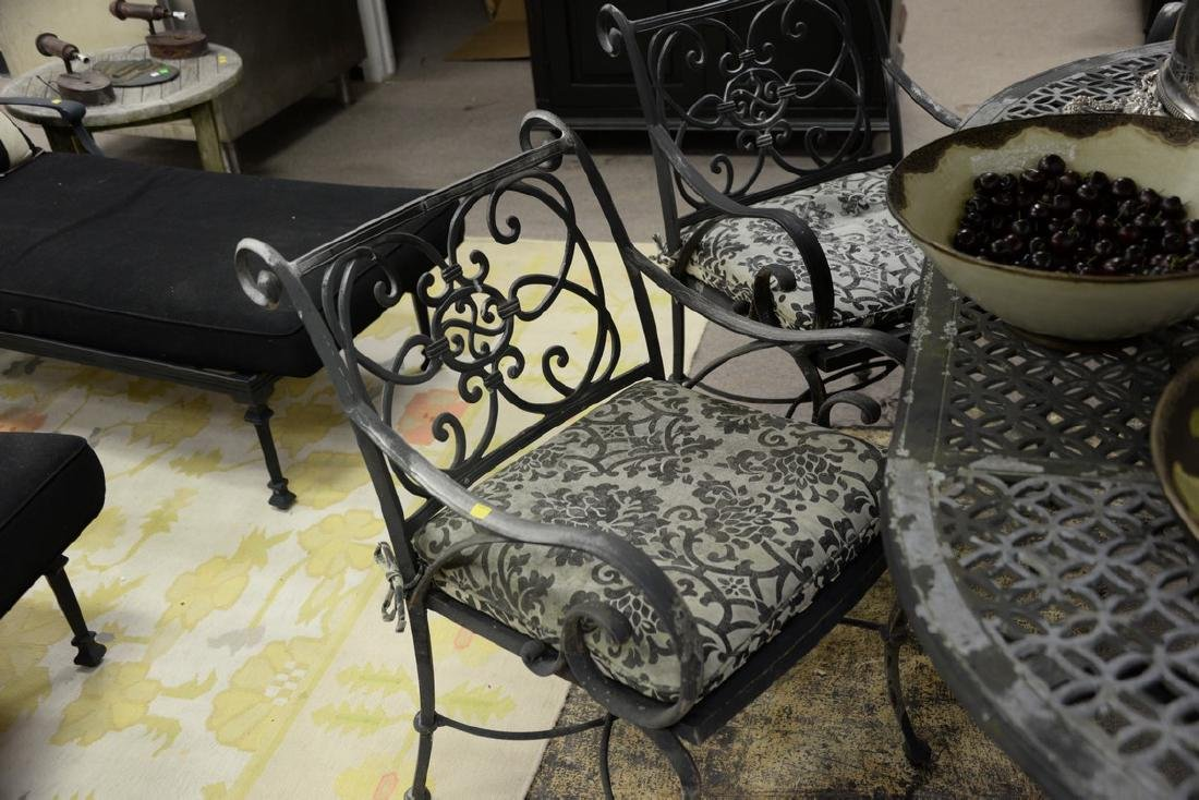 Seven piece metal outdoor set including table and six - 6