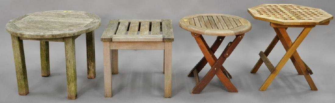 Four teak side tables, two are folding.