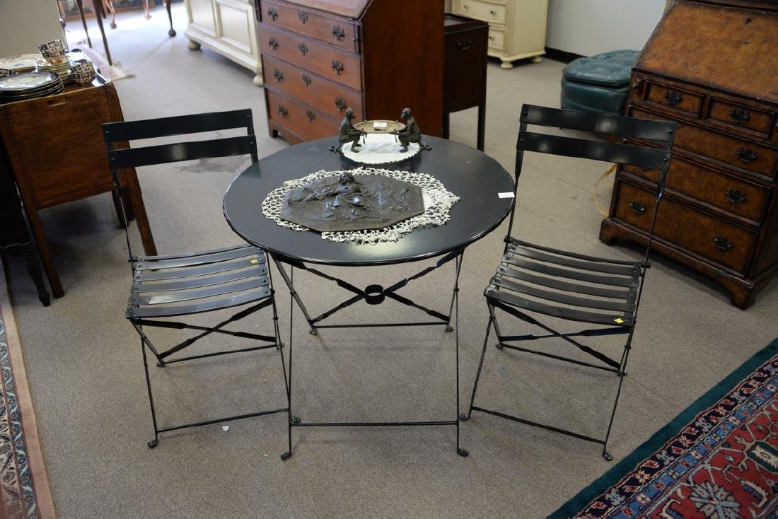 Small outdoor metal folding table and two chairs. ht. - 2