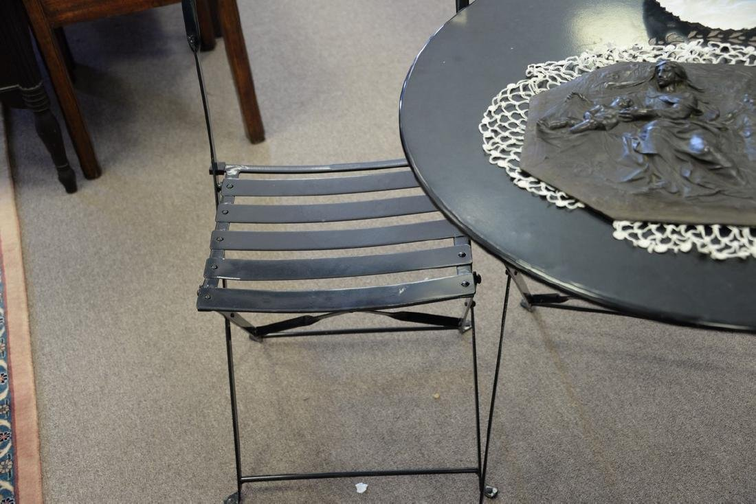 Small outdoor metal folding table and two chairs. ht. - 4