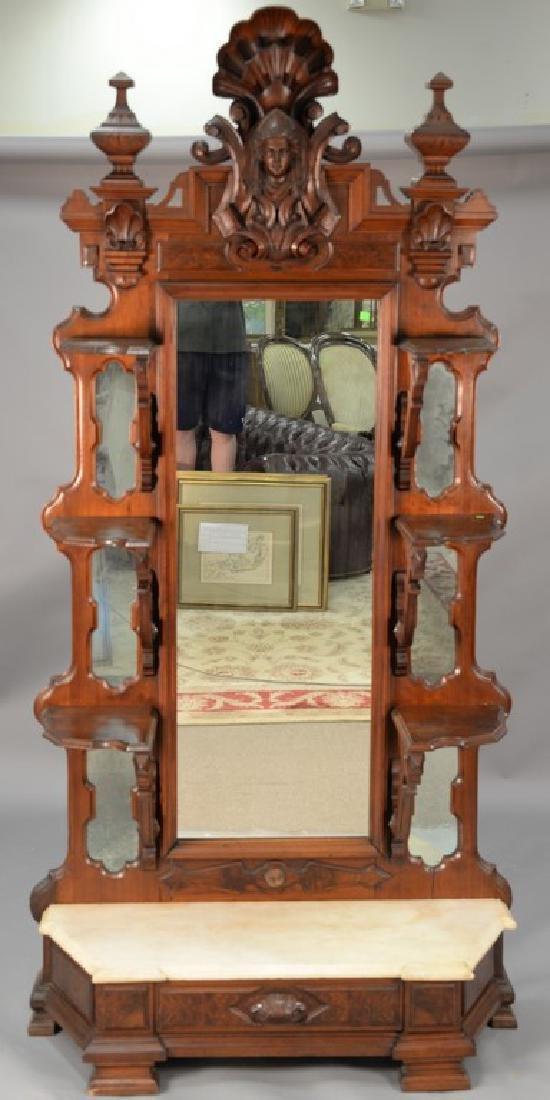 Large Victorian walnut hall mirror with carved shell