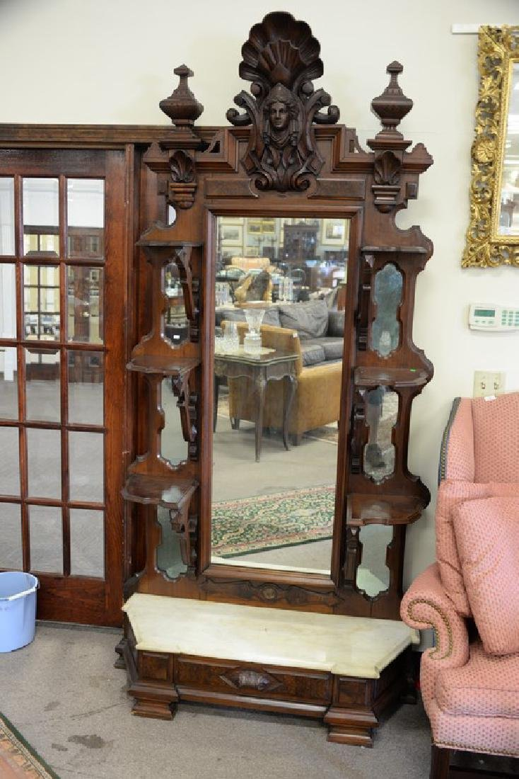 Large Victorian walnut hall mirror with carved shell - 2