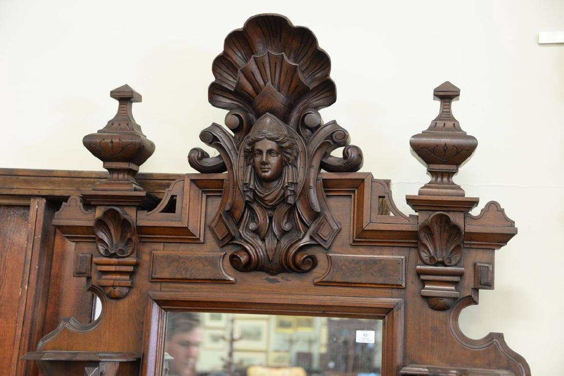 Large Victorian walnut hall mirror with carved shell - 3