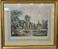Currier  Ives hand colored lithograph The Residence