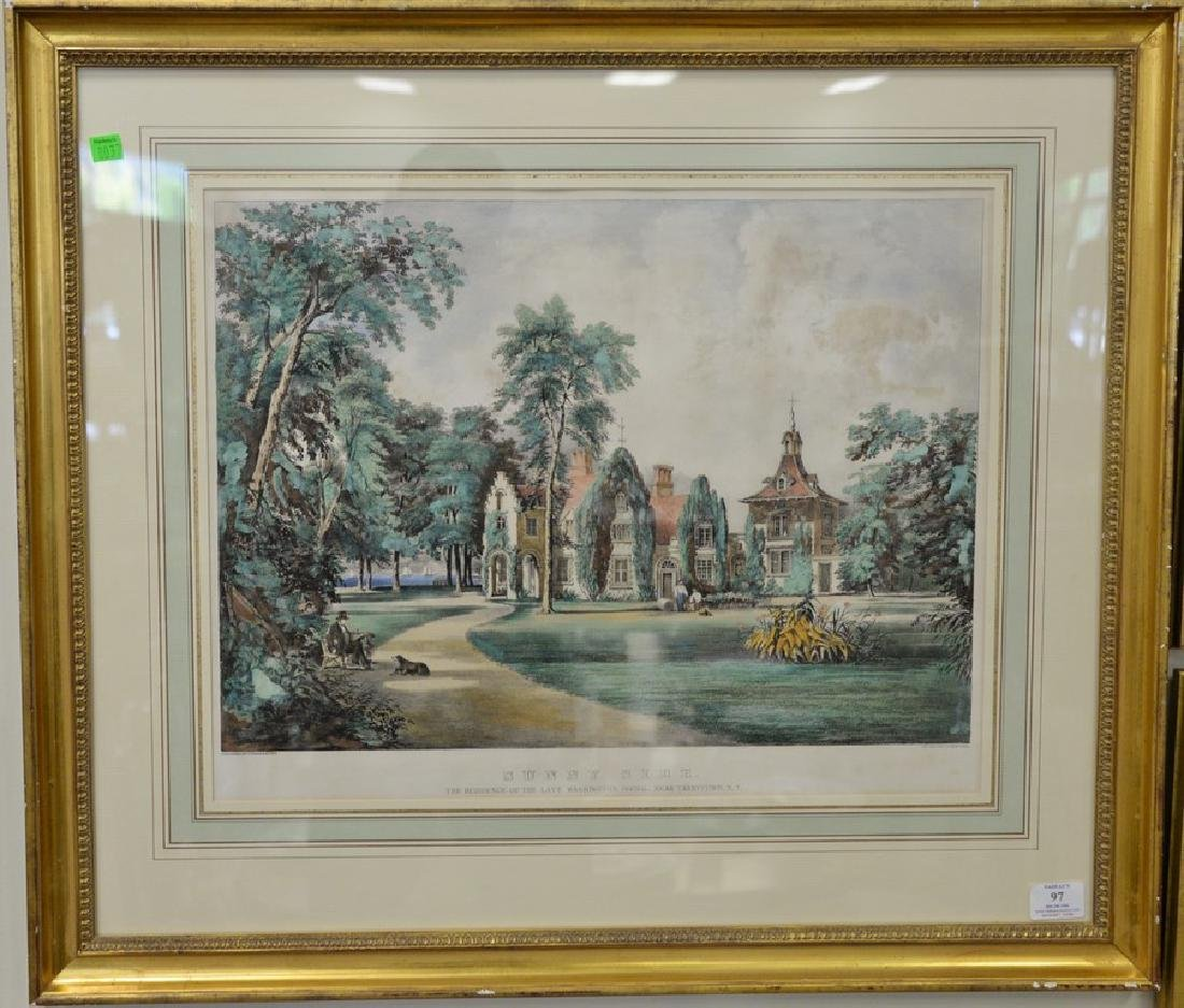 """Currier & Ives, hand colored lithograph, """"The Residence"""