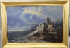 FC Martin oil on canvas stormy night in coastal