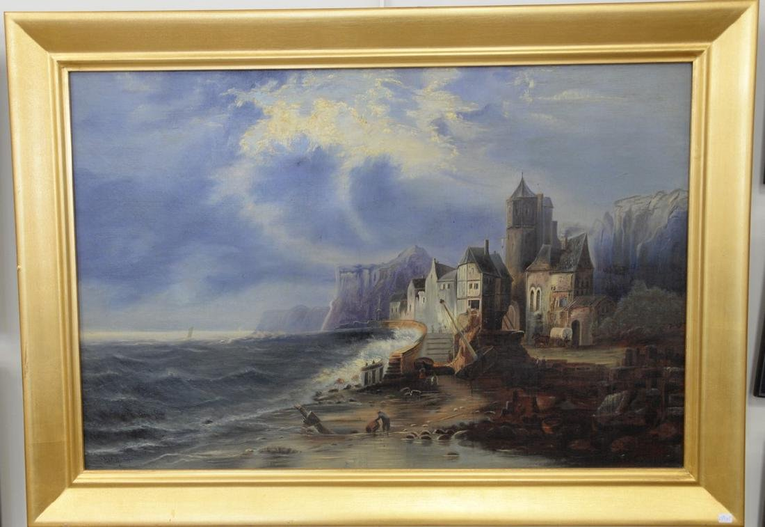 F.C. Martin oil on canvas stormy night in coastal