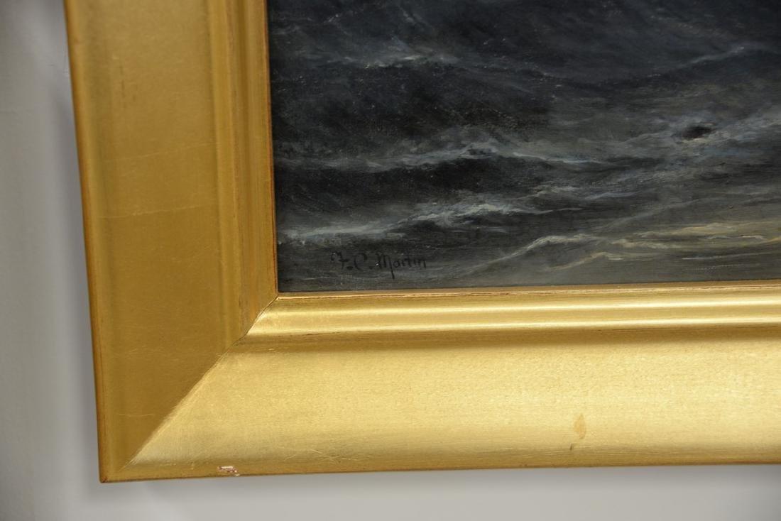 F.C. Martin oil on canvas stormy night in coastal - 2