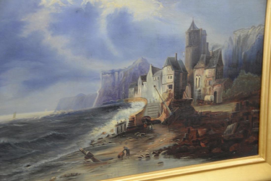 F.C. Martin oil on canvas stormy night in coastal - 3