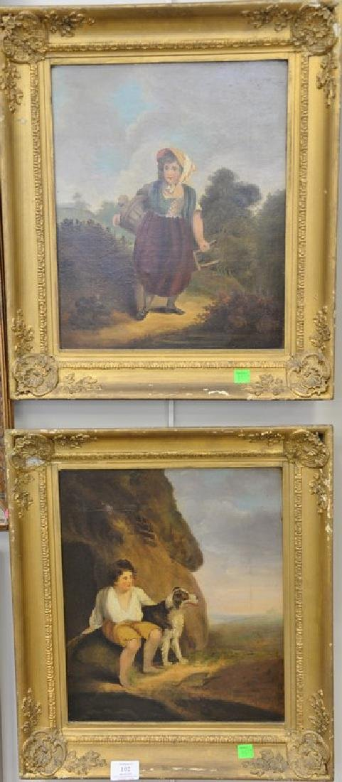 Pair of 19th century oil on canvas portrait paintings