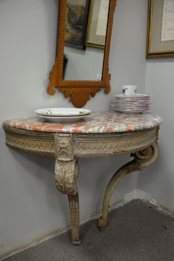 Continental style marble top console table with figured