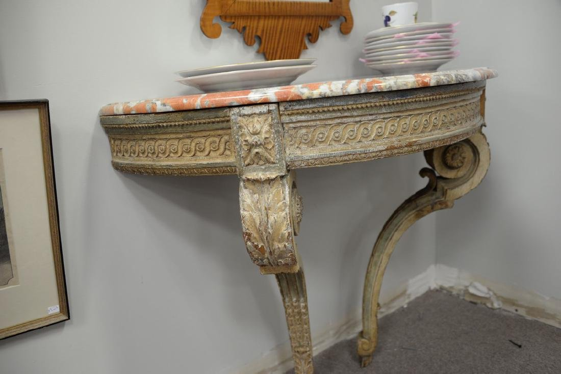 Continental style marble top console table with figured - 3