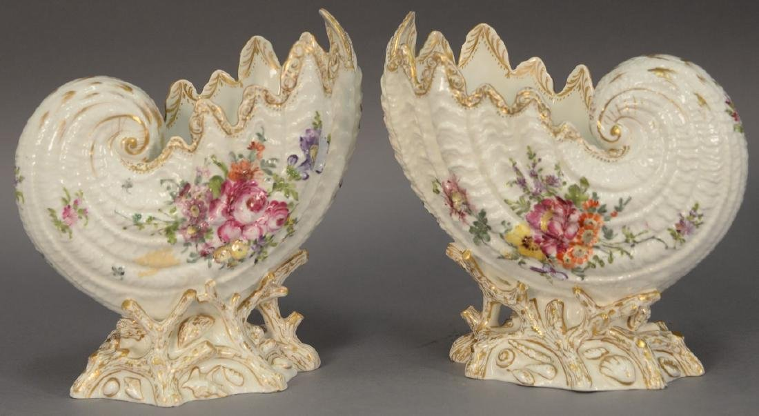 Pair of German porcelain Nautilus shell shaped bowls on