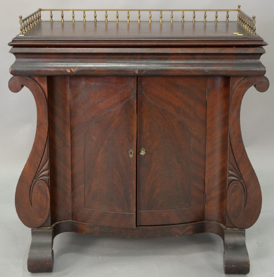 Empire mahogany server with brass gallery drawer and