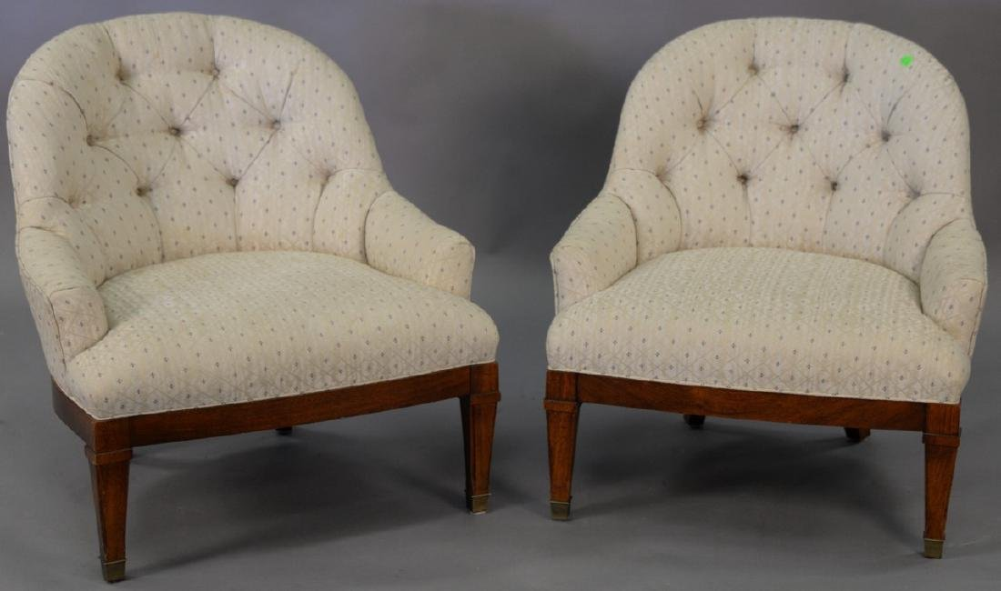 Pair of upholstered boudoir chairs. ht. 28 1/2in.