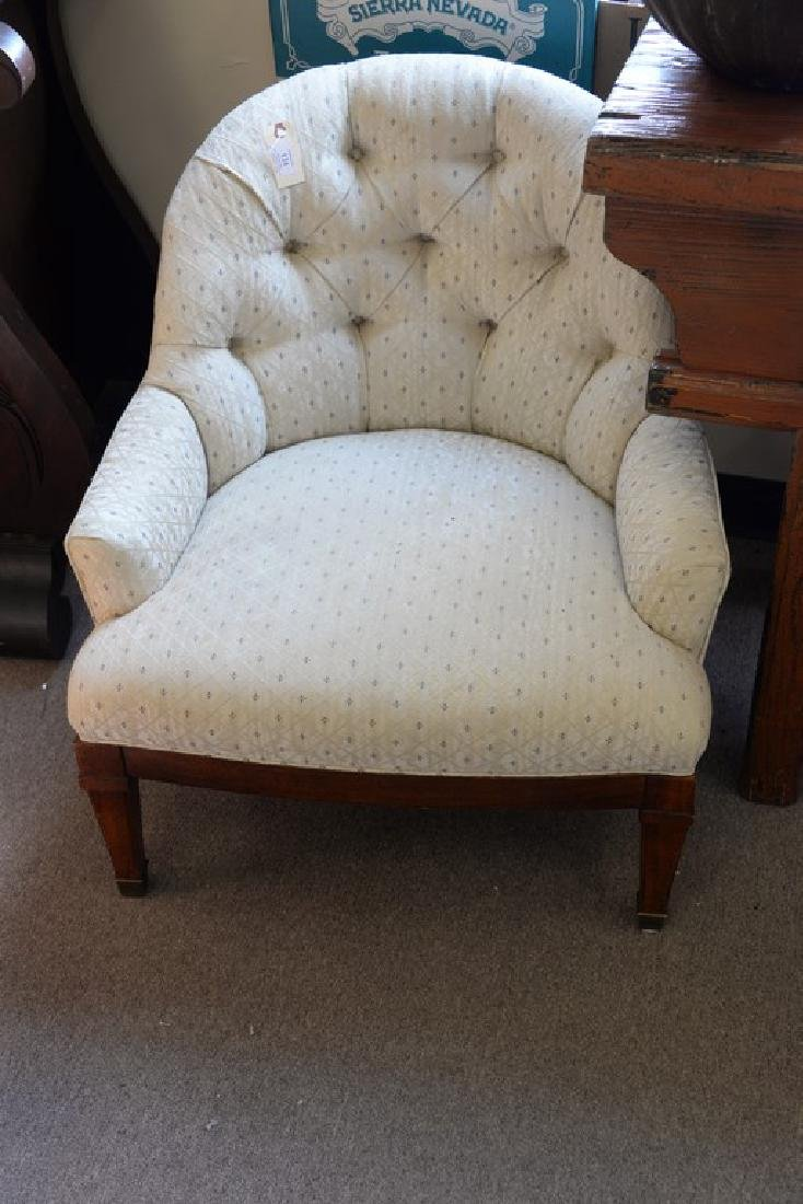 Pair of upholstered boudoir chairs. ht. 28 1/2in. - 2