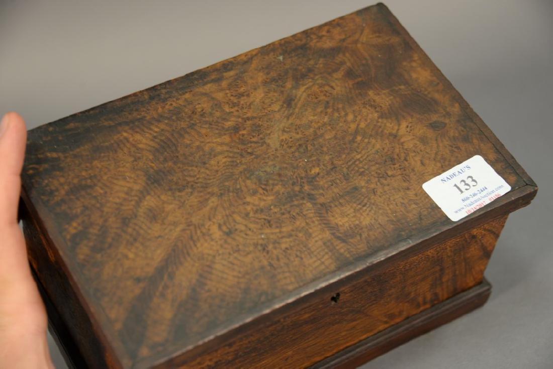 Primitive burl lift top box. ht. 4 3/4in., lg. 9in. - 2