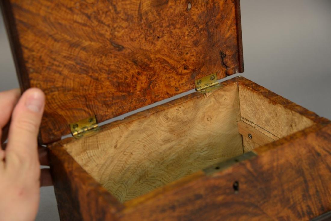 Primitive burl lift top box. ht. 4 3/4in., lg. 9in. - 3