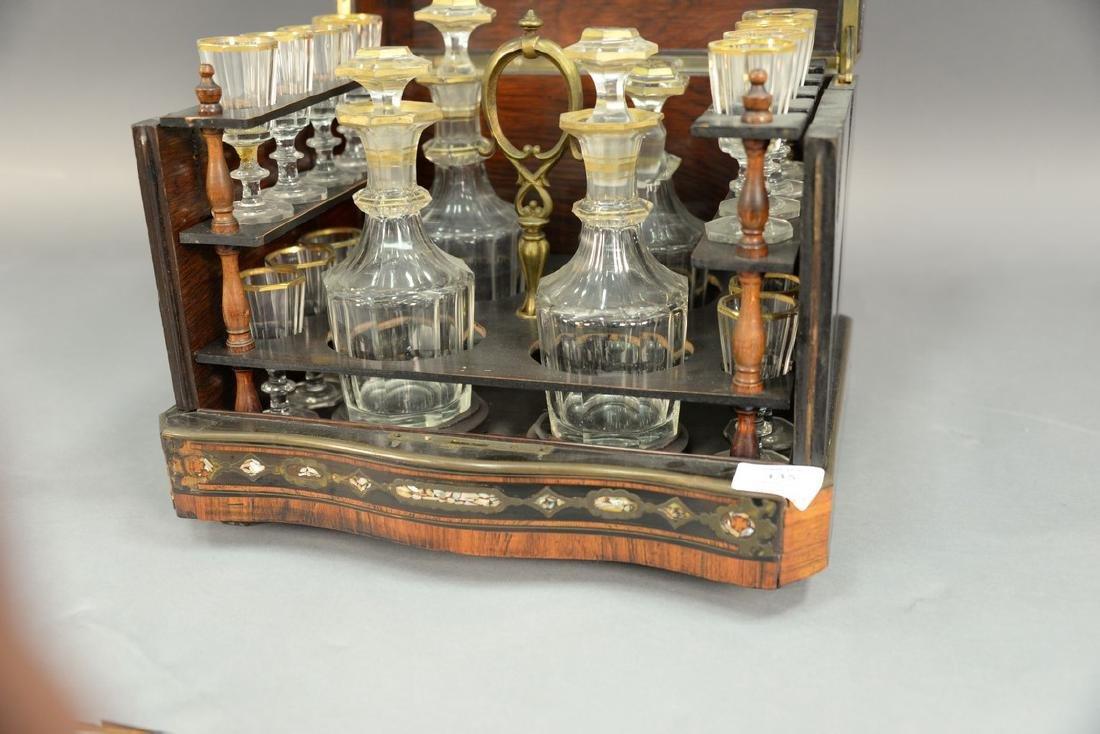 French inlaid tantalus, inlaid mahogany, ebonized wood, - 2